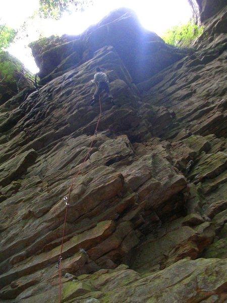 Rock Climbing Photo: Lounge Lizard, Lilly Bluff. Tenn. Climbing towards...