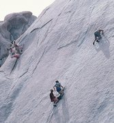 Rock Climbing Photo: Fred East starting the 2nd pitch of Exhibition on ...