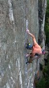 Rock Climbing Photo: Mid crux on an earlier attempt. The left foot I'm ...