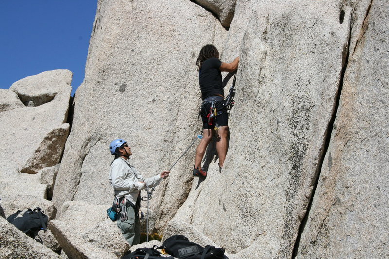 Grapevine Canyon<br> Albert belaying Roger on one of his first trad leads.