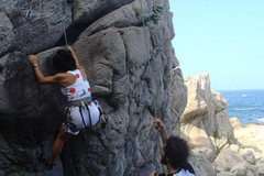 Rock Climbing Photo: my mom's first time climbing outdoors