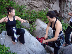 Rock Climbing Photo: taking my cousin Jia-Hui out on the rock for the f...