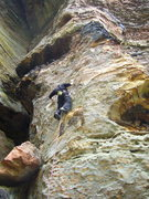 Rock Climbing Photo: Approaching the second bolt. Incredibly beautiful ...