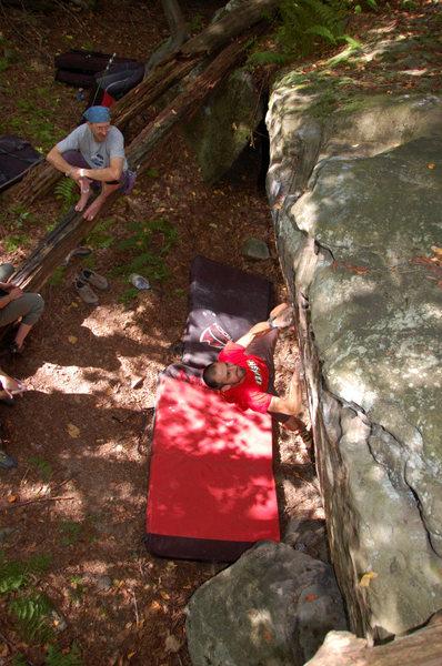 Climbing Pocket full of Kryptonite at The Ridge. Summer 2009