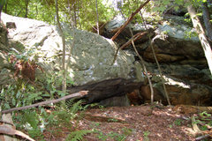 Rock Climbing Photo: Downhill side of Kryptonite block.  Problems on th...