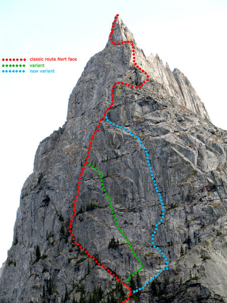 Scheme of the routes on the North face.