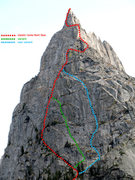 Rock Climbing Photo: Scheme of the routes on the North face.