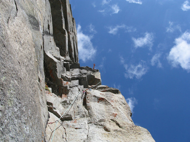 After climbing the crux roof (P2).