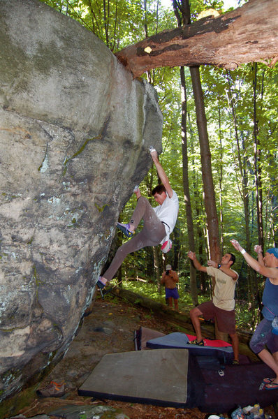 Carl Samples climbing Unbridled Spirit V3 at The Ridge Bouldering, Connellsville, PA