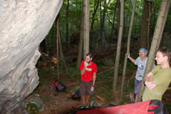 Rock Climbing Photo: Naked Bob, Leighton, and Tim below Sleeping, Snori...