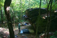 "Rock Climbing Photo: ""Naked"" Bob Rentka working up Hot Wax V3..."