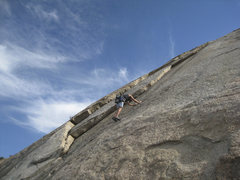 Rock Climbing Photo: Dave Coffman at the start of Mad Dog, in between L...