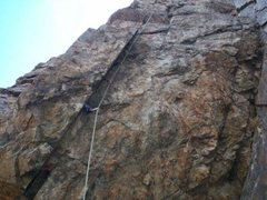Rock Climbing Photo: Geezer wall .10b, once completely bolt protected