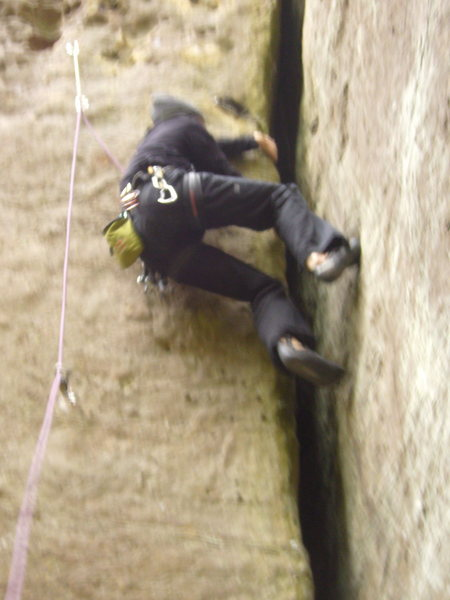 The offwidth has good holds for laybacking.