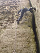 Rock Climbing Photo: Stem it out for the move onto the steep face on th...