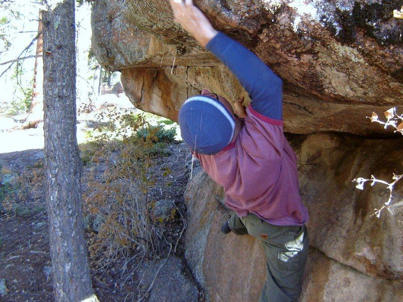 Rock Climbing Photo: Groping for the lip.