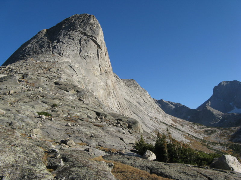 The North Face of Haystack Peak.  The route follows broken shadow through any number of corners and weaknesses.  We descended by the gully that is visible, splitting the shadow, with one short rap at the bottom.