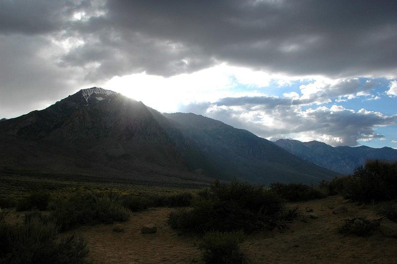 Sun setting over Mt. Tom, from the Buttermilks