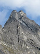 Rock Climbing Photo: West Ridge of East Huey Spire.  The route follows ...