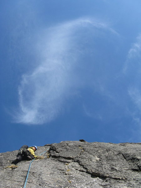 Rock Climbing Photo: Ehrin climbing on the third pitch.