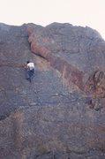 Rock Climbing Photo: Tony Bubb leads high on Surfing Samarsa (5.8-) Pho...