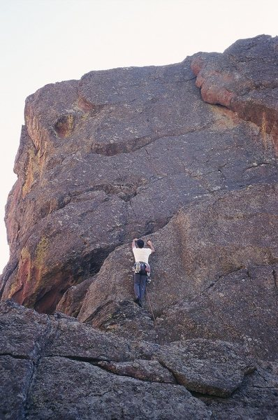Rock Climbing Photo: Tony Bubb leads just off the ledge of 'Surfing Sam...