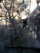 Rock Climbing Photo: Placing gear in the overhang.  photo by: Chris Kel...
