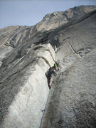 Rock Climbing Photo: working my way up this slippery bugger...