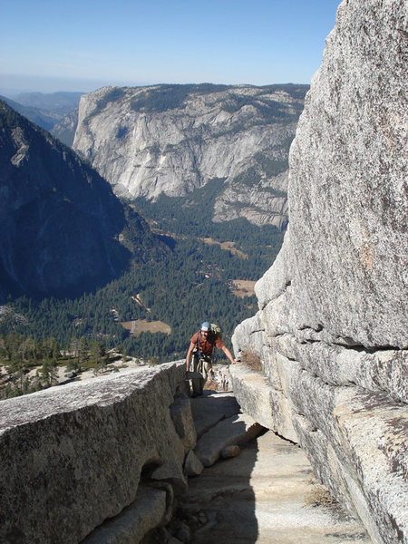 A really cool feature we found while scrambling the upper part of Halfdome El Cap is in the back ground...