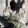 NOT COOL!!!! a hueco at a belay stance that is filled with PISS!!! This is gross and un acceptable... piss on the face off to the side of the route where it can evaporate and rinse in the rain... or in a bottle or whatever, the piss in the hole here has been cooking in the sun for weeks!!!