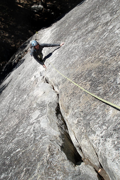 Rock Climbing Photo: my dad following the 5.9 variation...