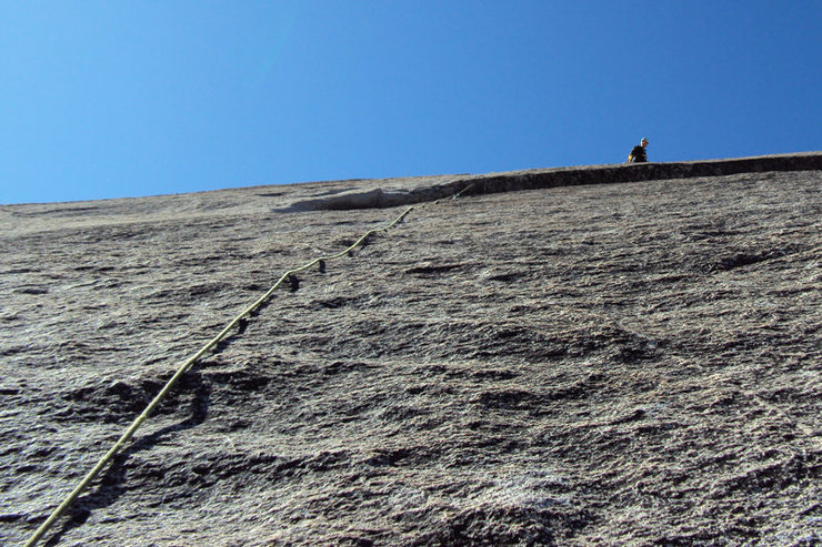 looing up at me as i finish the 5.7R pitch...