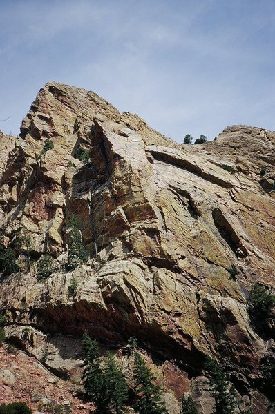The prominent buttress of Super Slab, and Vertigo at the left, in the shade. Photo from the Canyon Road, 2007, by Tony B.