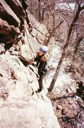 Rock Climbing Photo: Steph V. follows down low on King's X (10d) in Eld...
