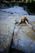 Rock Climbing Photo: Kelly Kurtz on Central Pillar of Frenzy (5.8+). Ph...