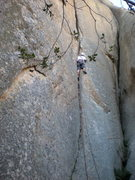 Rock Climbing Photo: Dan almost to the belay on pitch one