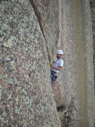Rock Climbing Photo: Dan almost to the belay on P3, about to do the ene...