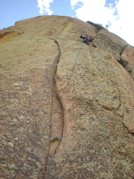 Rock Climbing Photo: Relieved after the scary face climbing on pitch fo...