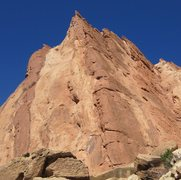 Rock Climbing Photo: On pitch 3 Moving right to the long groove on the ...