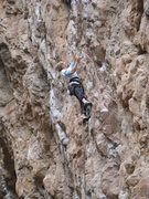 Rock Climbing Photo: Long moves between good (though heavily polished) ...