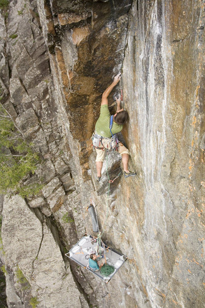 Rock Climbing Photo: placing one of many micro cams!