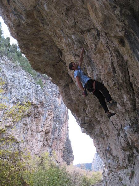 Rock Climbing Photo: Beginning up the long pumpy journey of Sprayathon.