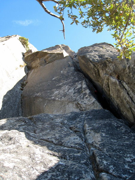 Looking up at the first pitch of the East Buttress.