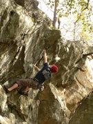 Rock Climbing Photo: Jason finishing up on the upper business