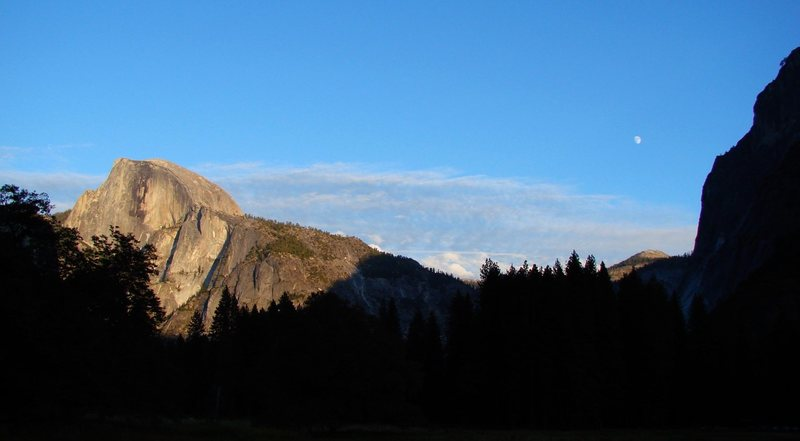 Sunset and moonrise over Half Dome, Sept 09.