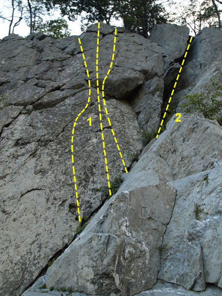 Rock Climbing Photo: 1. Some options for Lichen Wall (5.4-5.7) 2. Begin...