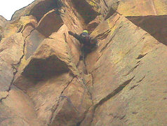 Rock Climbing Photo: About at the first roof on P1. A deep, tooth-shape...