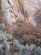 Rock Climbing Photo: Emily Kuhr on the Split Pillar, 5.9?  Taken from a...