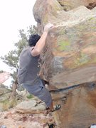 Rock Climbing Photo: Locking in the toe hook.