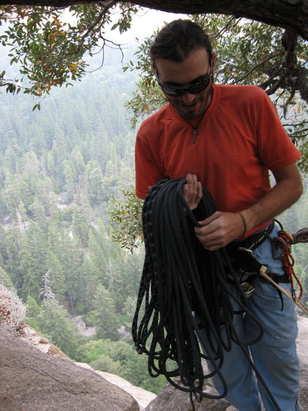 Last belay station of Munginella-Marcio coiling rope